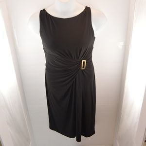 Chaps Sleeveless Dress with Waist Buckle Accent